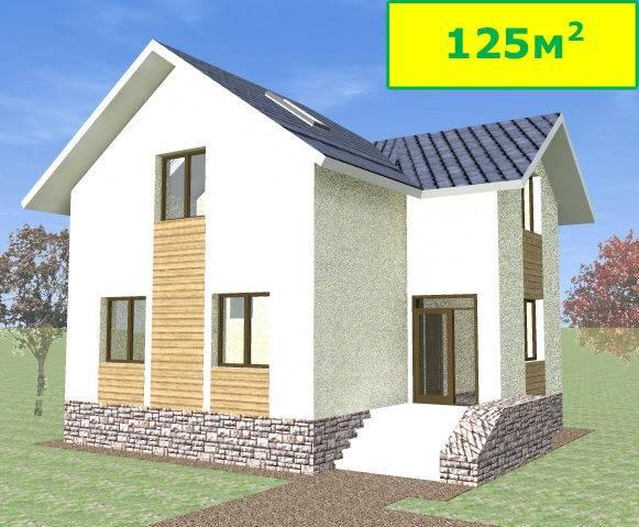 Готовый дом из газобетона N125-гб